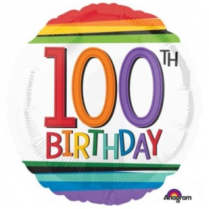 Foil Balloon 100th Birthday - Rainbow