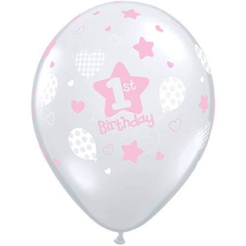 Balloon Single 1st Birthday Clear with Pink Star