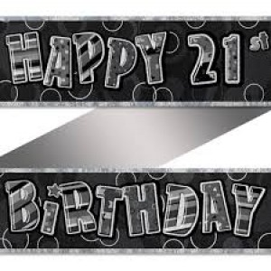 Banner Happy 21st Birthday - Black & Silver