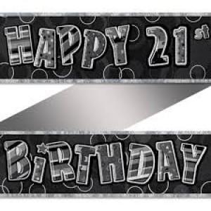 Banner Happy 21st Birthday - Black & Silver