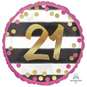 "Foil Balloon 18"" 21st Pink & Gold"