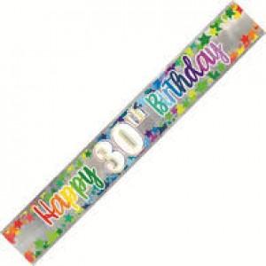 Banner Happy 30th Birthday - Foil Stars