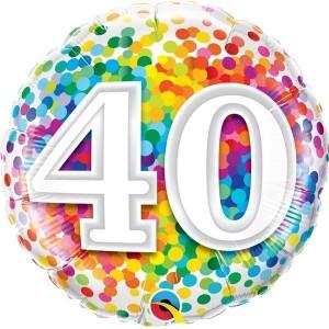 Foil Balloon 40th Birthday - Confetti