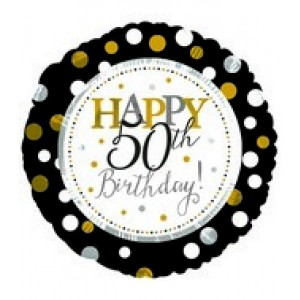 Foil Balloon 50th Birthday - Gold & Black Dots