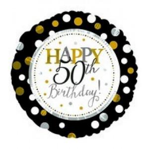 Foil Balloon 50th Birthday - Gold & Black Dots