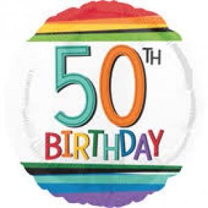 Foil Balloon 50th Birthday - Rainbow Stripe
