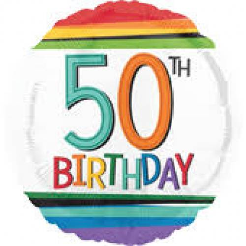 Foil Balloon 50th Birthday - Rainbow Stripe