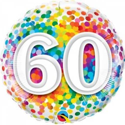 Foil Balloon 60th Birthday - Confetti