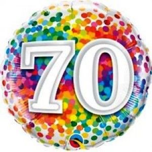 Foil Balloon 70th Birthday - Confetti