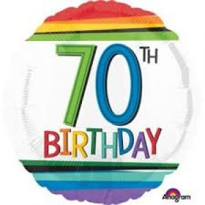 Foil Balloon 70th Birthday - Rainbow Stripe