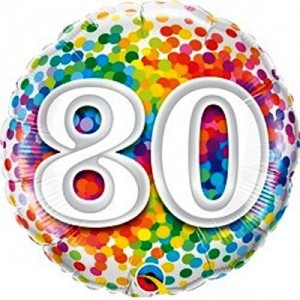 Foil Balloon 80th Birthday - Confetti