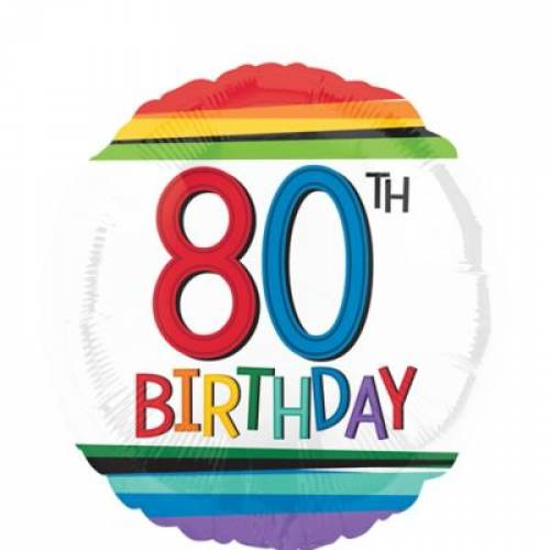 Foil Balloon 80th Birthday - Rainbow Stripe