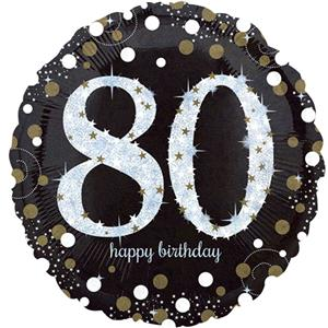 Foil Balloon 80th Birthday - Sparkles