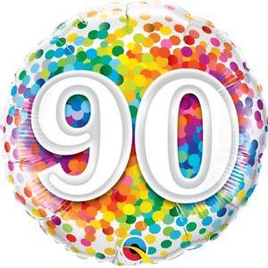 Foil Balloon 90th Birthday - Confetti