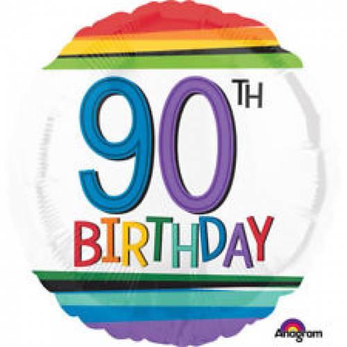 Foil Balloon 90th Birthday - Rainbow Stripe