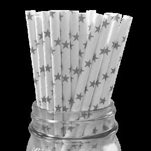 Paper Straws Black Stars