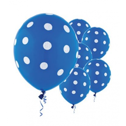 Party Balloons 10pk Blue With White Spot