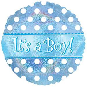 Foil Balloon It's a Boy Polka Dots
