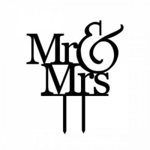 """Mr & Mrs"" Wedding Cake Topper - Black"