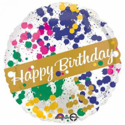 "Foil Balloon 18"" Happy Birthday - Paint Splatter"