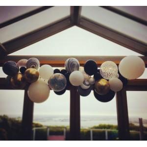 Balloon Garland Kit - Black, White & Gold