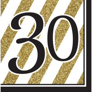 Napkins Black & Gold 16pk - 30th