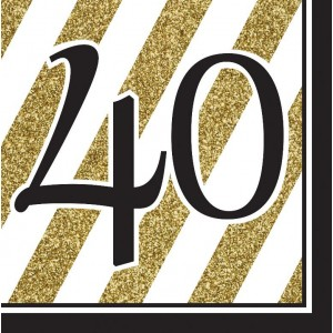 Napkins Black & Gold 16pk - 40th