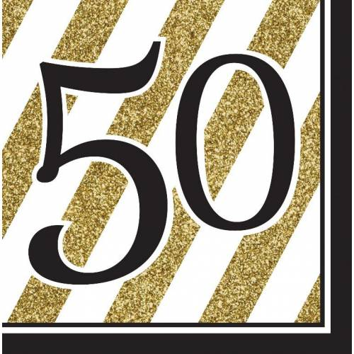 Napkins Black & Gold 16pk - 50th