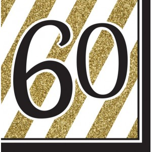 Napkins Black & Gold 16pk - 60th