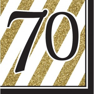 Napkins Black & Gold 16pk - 70th