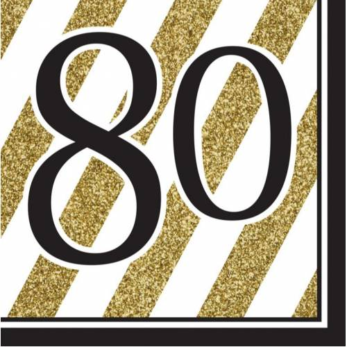 Napkins Black & Gold 16pk - 80th
