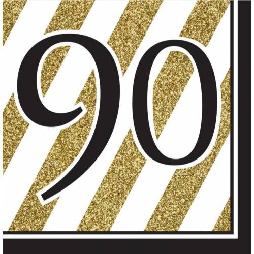 Napkins Black & Gold 16pk - 90th