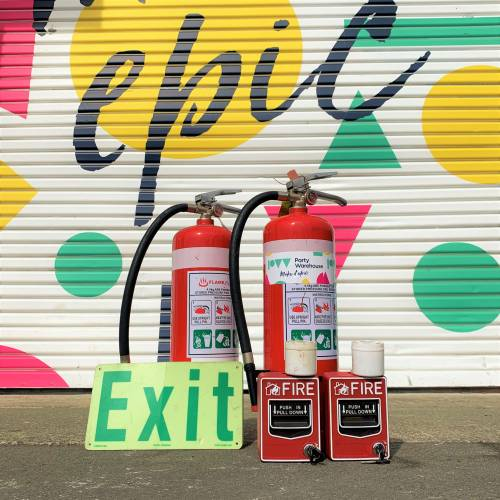 Fire Safety Set - Extinguishers, Alarms & Illuminated Exit Signs