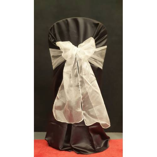 Chair Cover Sash, Organza Silver