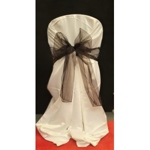 Chair Cover Sash, Organza Brown/Black