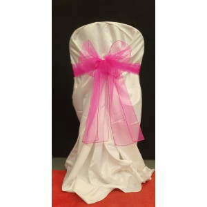 Chair Cover Sash, Organza Dark Pink