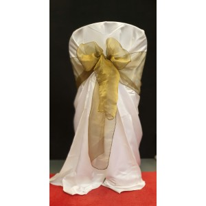 Chair Cover Sash, Organza Gold (olive gold)