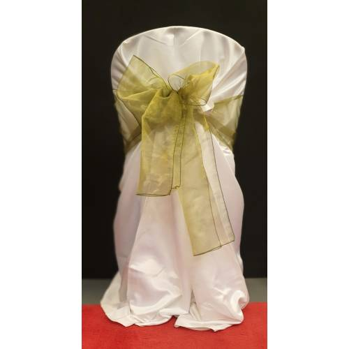 Chair Cover Sash, Organza Olive Green