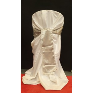 Chair Cover Sash, Satin Silver