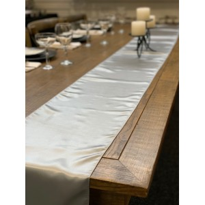 Table Runner, Satin 2.6m, Silver