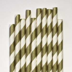 Paper Straws Gold and White Twist