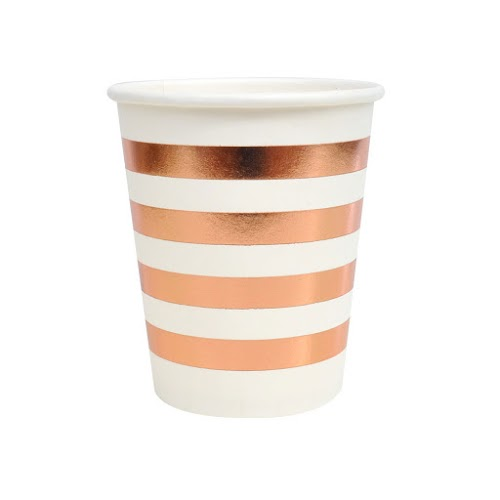 Rose Gold Foil Stripe Paper Cups 8pk