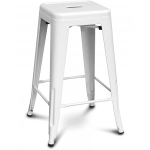 White Bar Stool [Metal Seat]