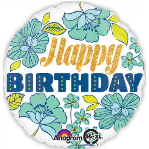 "Foil Balloon 18"" Happy Birthday - Floral"