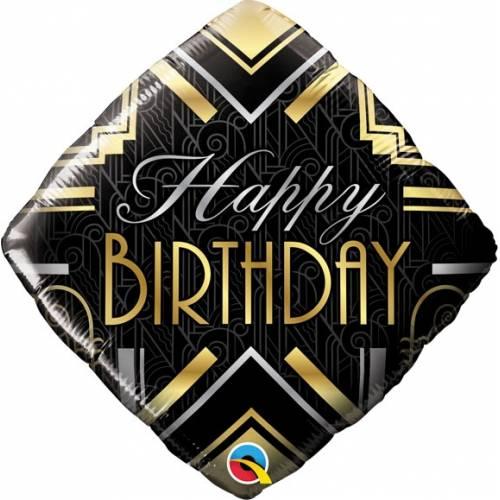 "Foil Balloon 18"" Happy Birthday -Art  Deco"