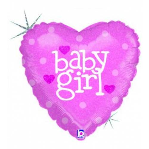 Foil Balloon Baby Girl Heart