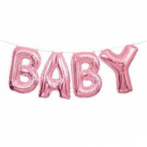 "Foil Balloon Banner Pink ""BABY"" *air fill only"