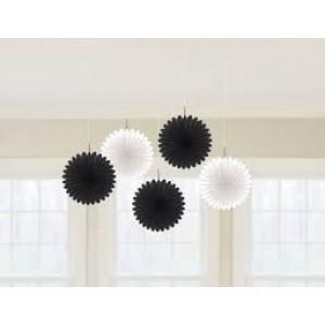 Black & White Paper Fans - 5 pk
