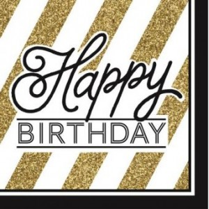 Napkins Black & Gold 16pk - Happy Birthday