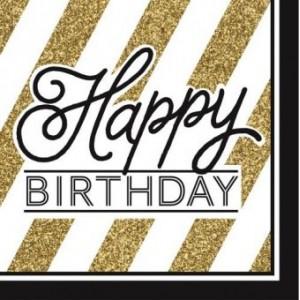 Napkin Happy Birthday Black & Gold